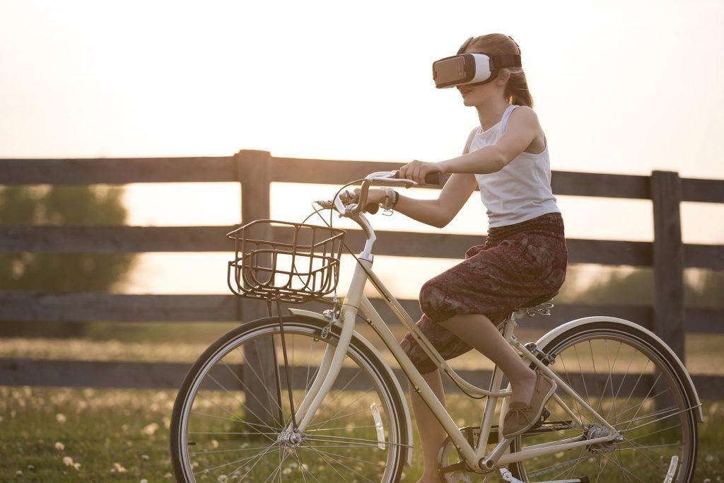 augmented reality girl on bike