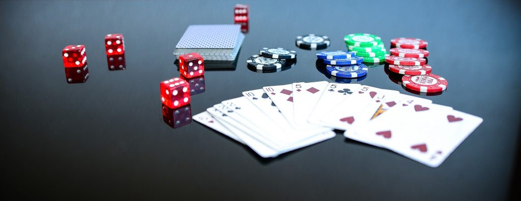 Poker chips dice cards