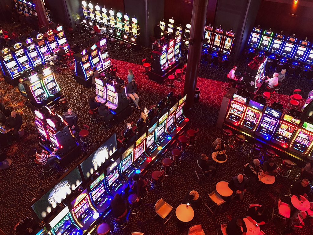 Overhead view of the slot machine area at a casino
